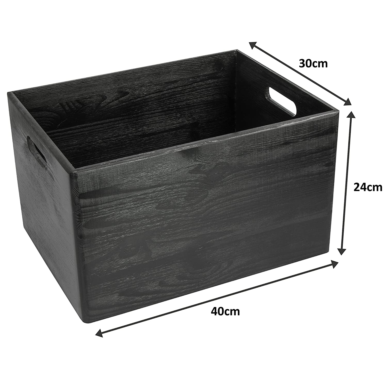 Deko-Kiste zum Basteln 40x30x24cm Geschenk-Verpackung FSC/® LAUBLUST Gro/ße Holzkiste mit Griffen Schwarz F/üll-Box f/ür zu Hause Allzweck-Kiste /& Aufbewahrungskiste Spielzeug-Kasten