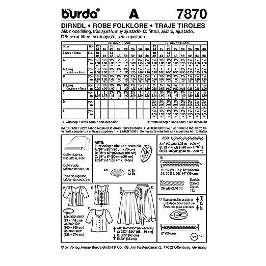 Amazon.com: Burda Ladies Sewing Pattern 7870 - Dirndl Dress ...