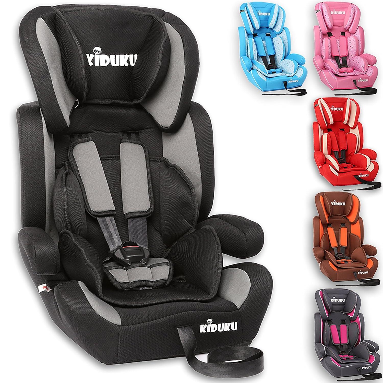 KIDUKU® Siège auto pour enfants, évoluant avec la croissance, Norme ECE R44/04, 6 couleurs disponibles, de 9 kg à 36 kg (de 1 à 12 ans), Groupe 1 + 2 + 3 (Rose) évoluant avec la croissance de 9 kg à 36 kg (de 1 à 12 ans)