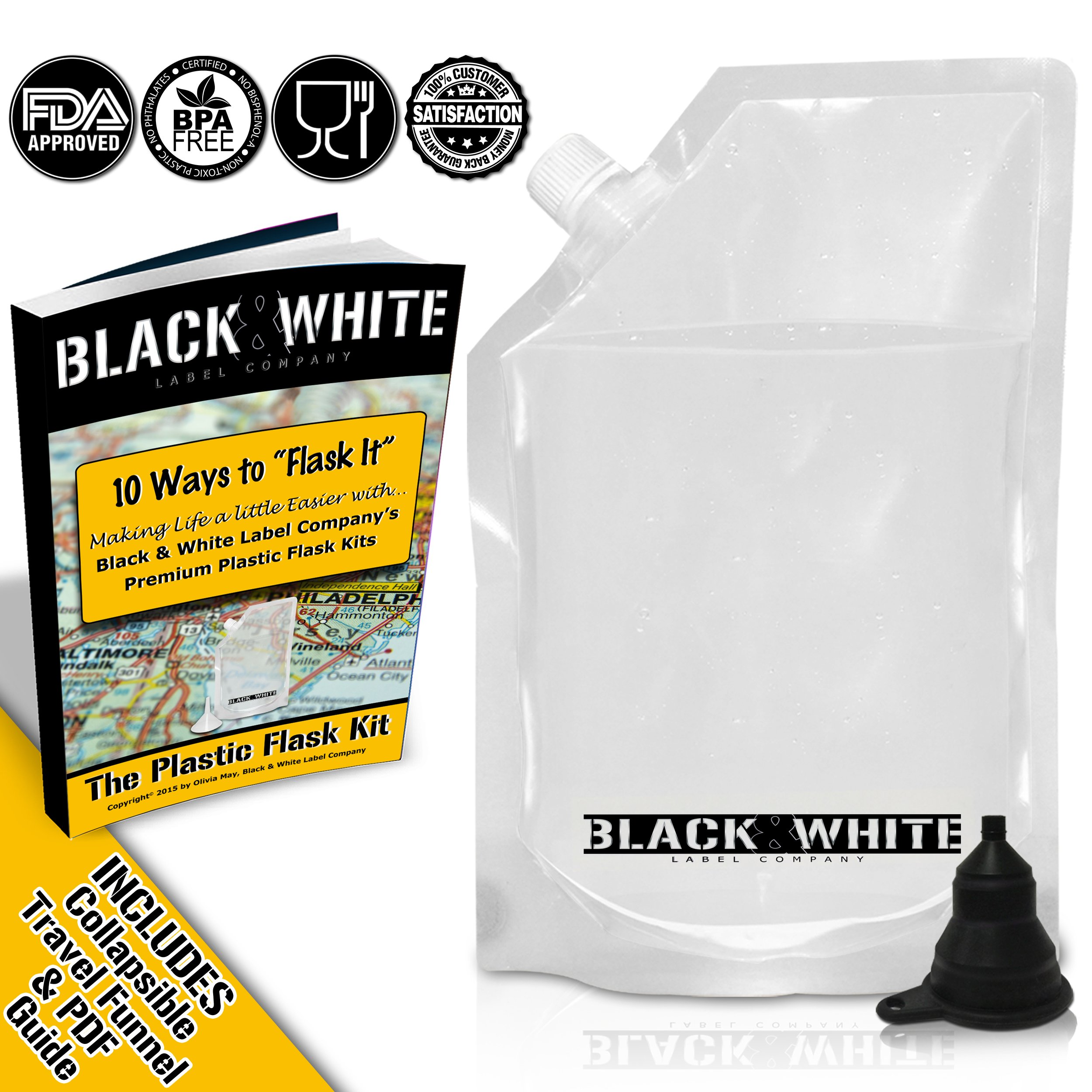 (9) Black & White Label Plastic Flasks Liquor Flask Rum Runner Cruise Kit Sneak Alcohol Drink Wine Pouch Bag Set Concealable Flasks For Booze (3x32oz + 3x16oz + 3x8oz + Wine To Go Flask +Funnel) by Black & White Label Company (Image #2)