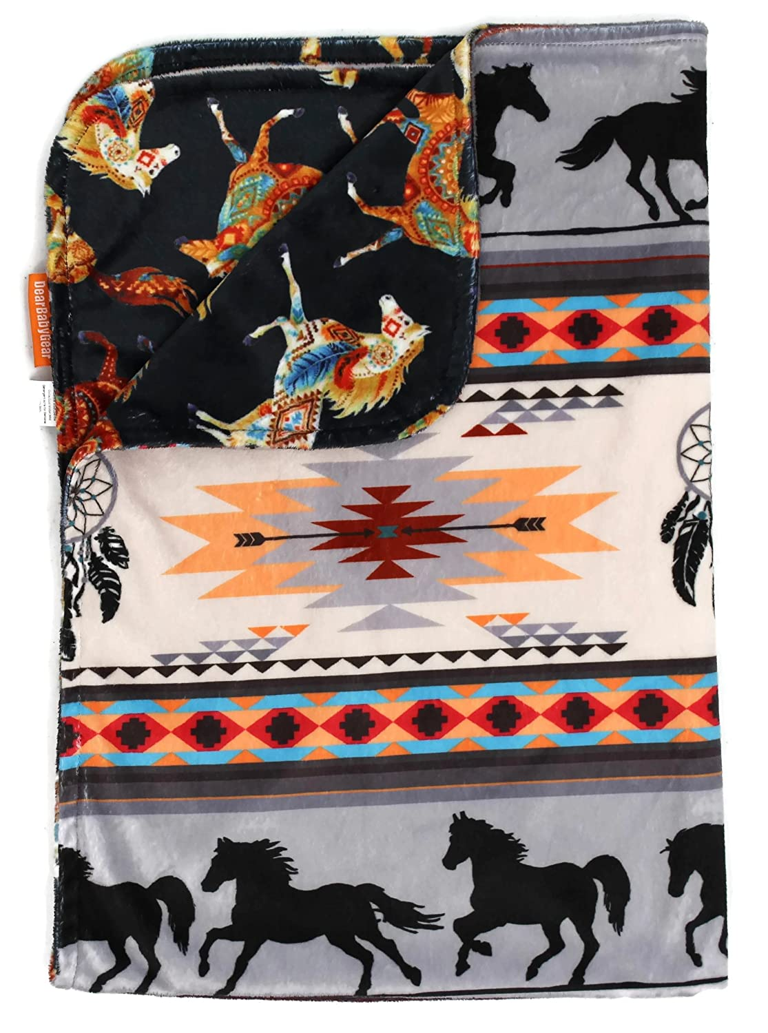Dear Baby Gear Deluxe Reversible Baby Blankets, Minky Print, Southwestern Tribal Horses, 38 inches by 29 inches