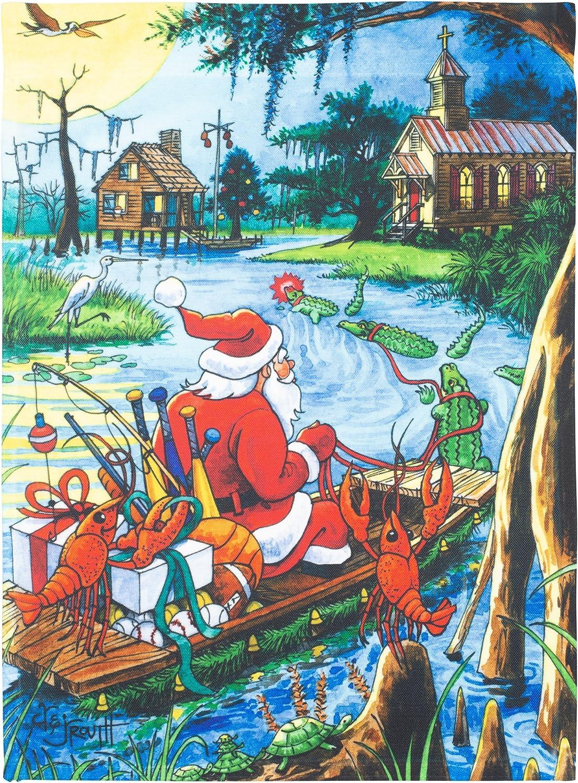 Santa's Bayou Trek Creole Blue 18 x 13 Spun Polyester Outdoor Garden Flag