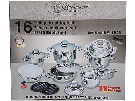 Solingen Bachmayer, High quality - Batería de Cocina, Color Plata, tamaño 16 Piece