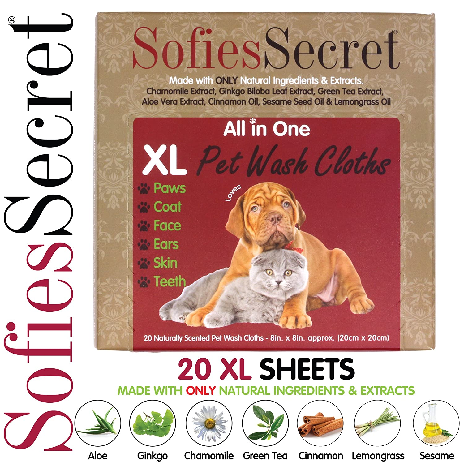 SofiesSecret Pet Wipes for Dogs+Cats and All Other Pets, All in ONE  Grooming, 100% Natural & Organic Extracts, Extra Thick, Ultra Soft, Extra  Large,
