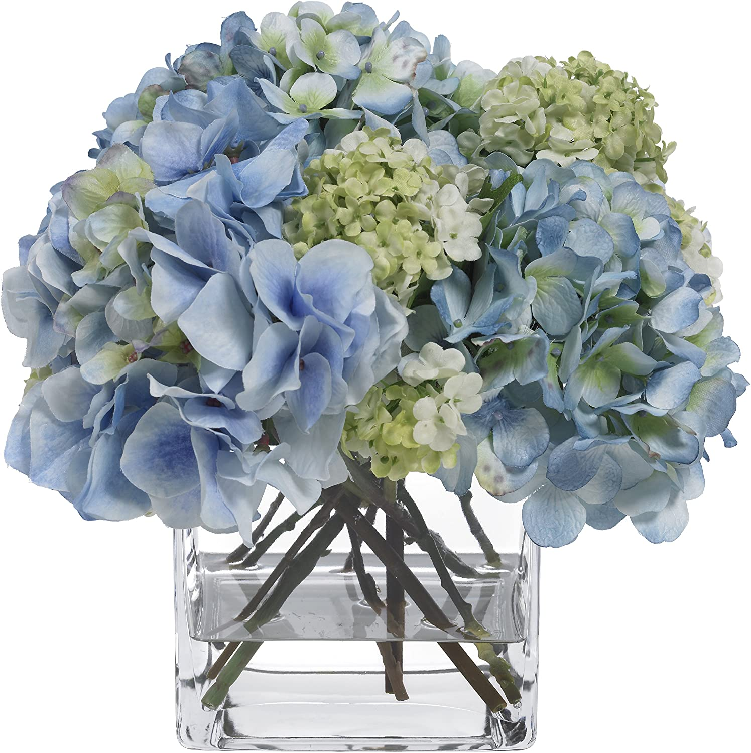 Amazon Com Blooms By Diane James Faux Blue Hydrangea And Snowball Bouquet In Glass Vase Home Kitchen