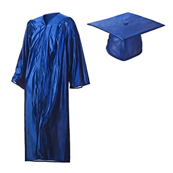 Amazon.com: Shiny Royal Blue Graduation Cap and Gown Set in ...