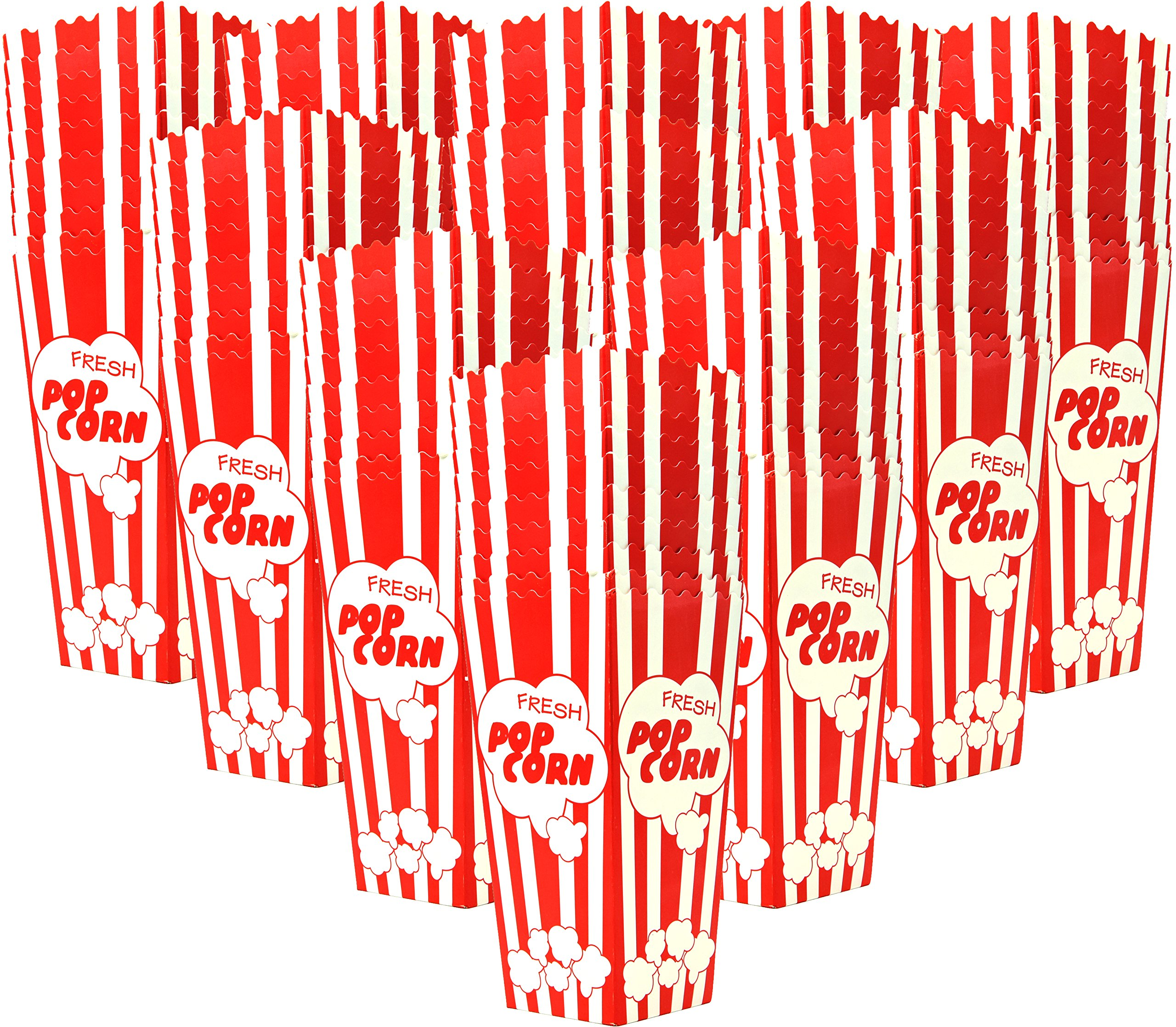 110 Popcorn Boxes, 7.75'' Huge Tall and Holds 46 Oz. with Old Fashion Vintage Retro Design with Red and White Colored Nostalgic Carnival Stripes Alternative to Popcorn Bags and Popcorn Tubs by Salbree