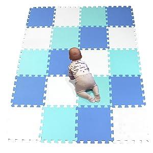 YIMINYUER 20Pc 30 x 30 x 1cm 10mm Thicknes Kids Playmat Floor Matting Foam Garden Fitness Nursery Mat White Blue Green R01R07R08G301020