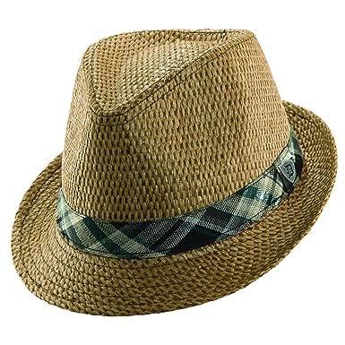 277cf92dd41d8 Dorfman Pacific Matte Toyo Fedora with Plaid Hat at Amazon Men s ...