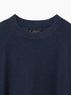 Linen Cotton Garter Stitch Crewneck Sweater 11-15-1020-103: Navy