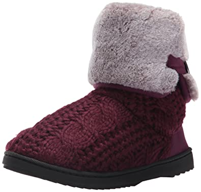 Dearfoams Women's Cable Knit Boot w Plush Cuff