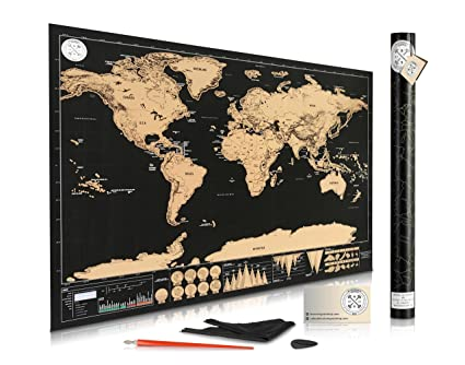 Amazon scratch off map of the world for travelers elegant scratch off map of the world for travelers elegant gold foil on black travel tracker gumiabroncs Gallery