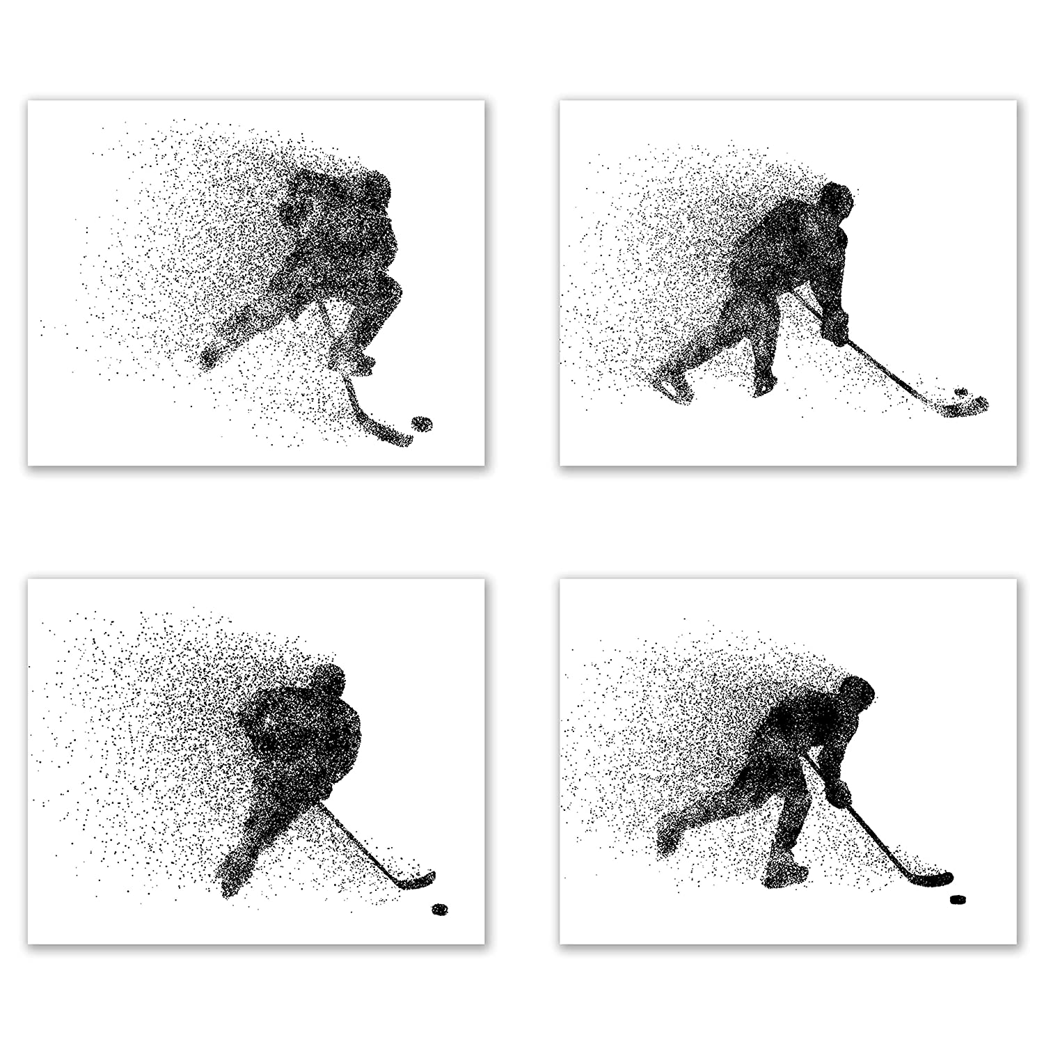 Ice Hockey Wall Art Prints - Particle Silhouette - Set of 4 (8x10) Poster Photos - Bedroom - Man Cave Decor