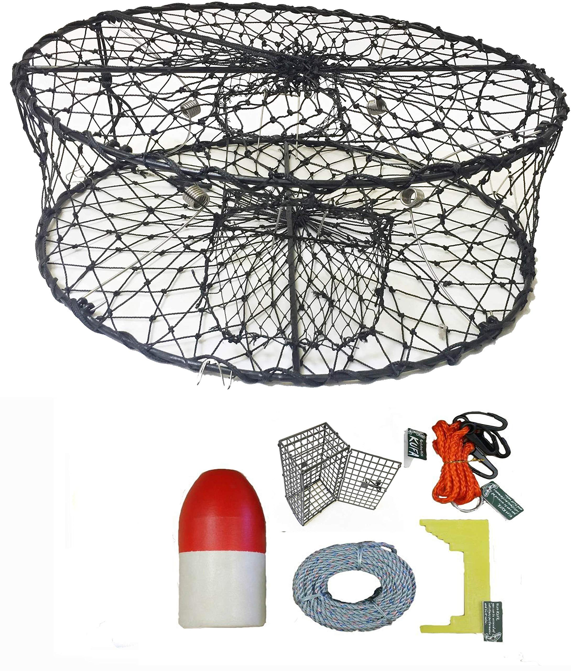 KUFA Sports Foldable Crab Trap with 11'' Red/White Floats, Harness, Bait case & Crab Caliper Combo (CT50+CEC1) by KUFA Sports