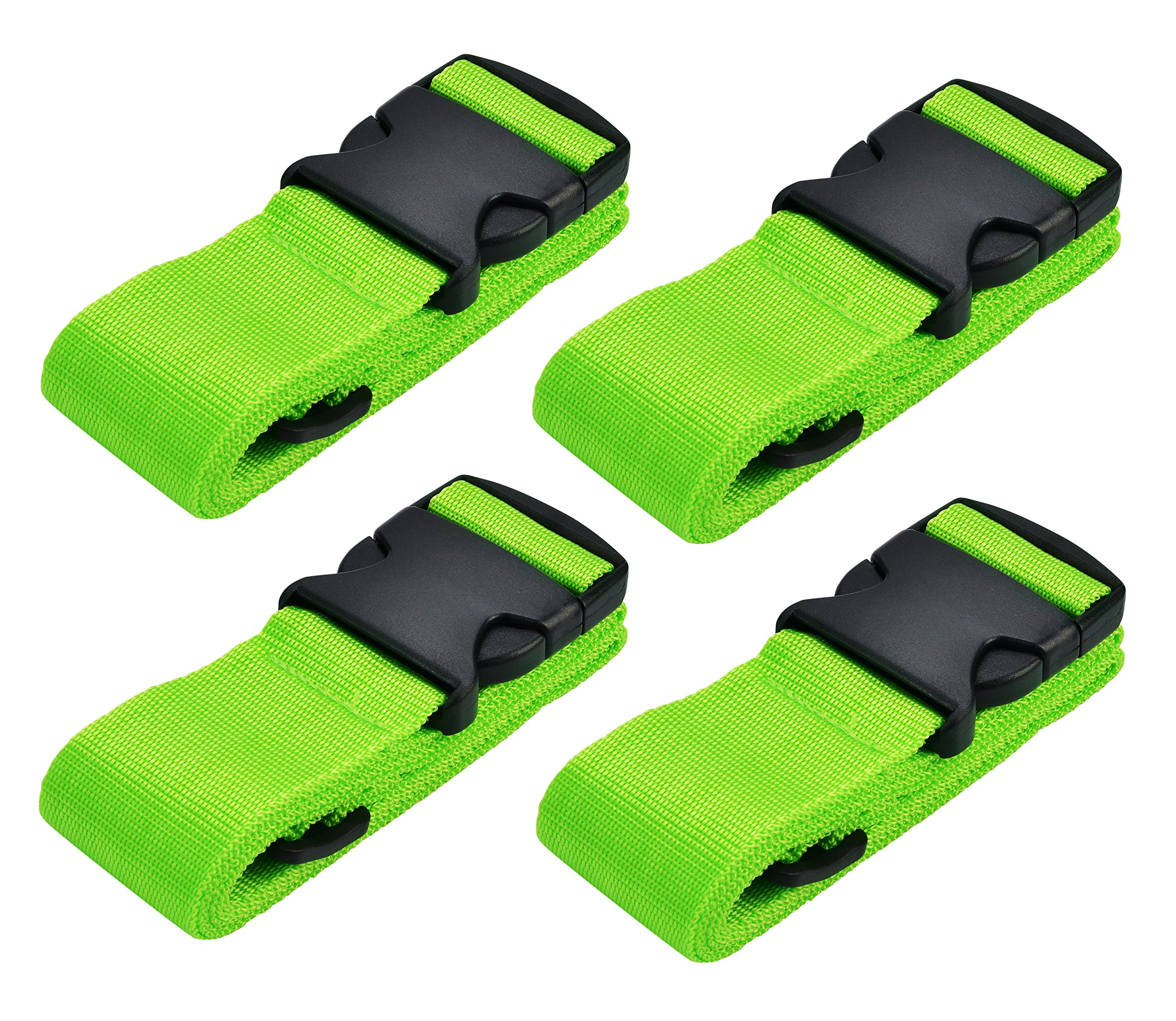 WeBravery Adjustable Luggage Strap Suitcase Belt Bag Straps Travel Accessories (Green 4Pack)
