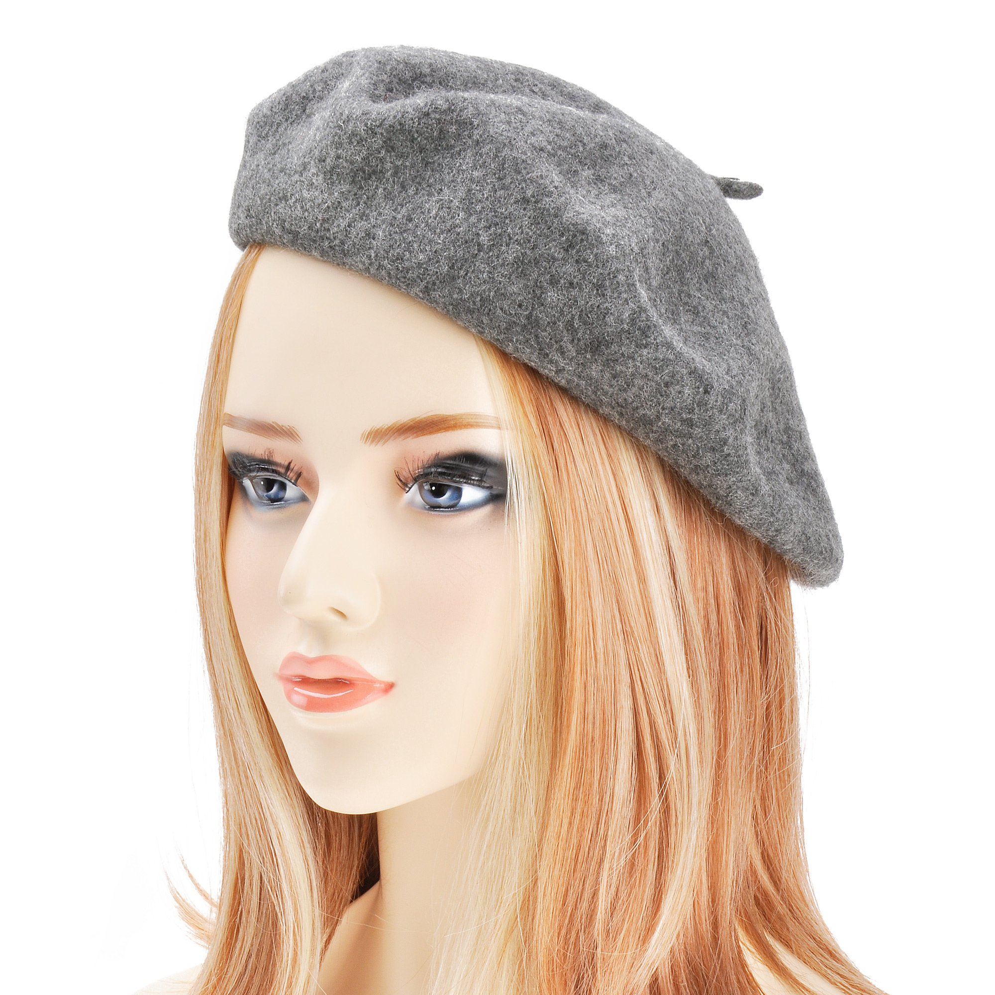 ZLYC Wool Beret Hat Classic Solid Color French Beret for Women (Melange Grey)