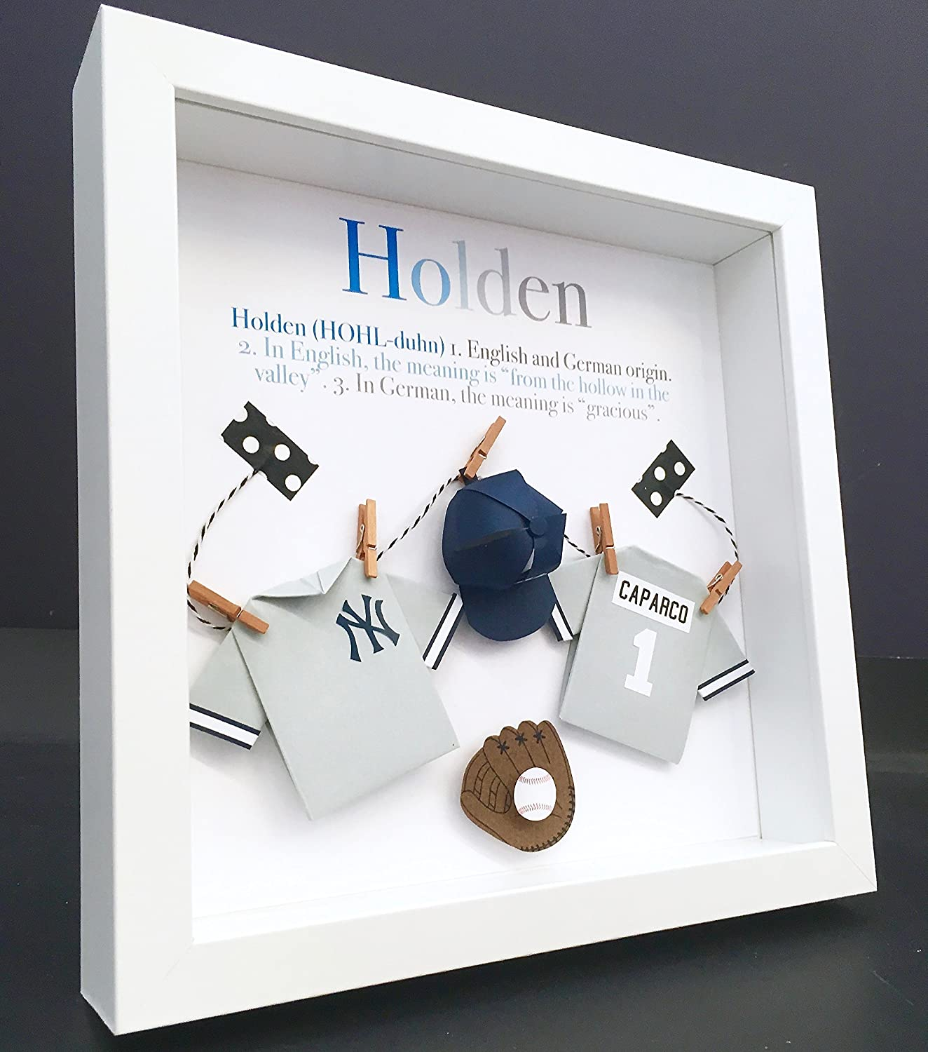 Personalized Baby Name Origin and Meaning Paper Origami Baseball New York Yankees or Toronto Blue Jays Shadowbox Frame Newborn Baby Shower Nursery Decor Gift