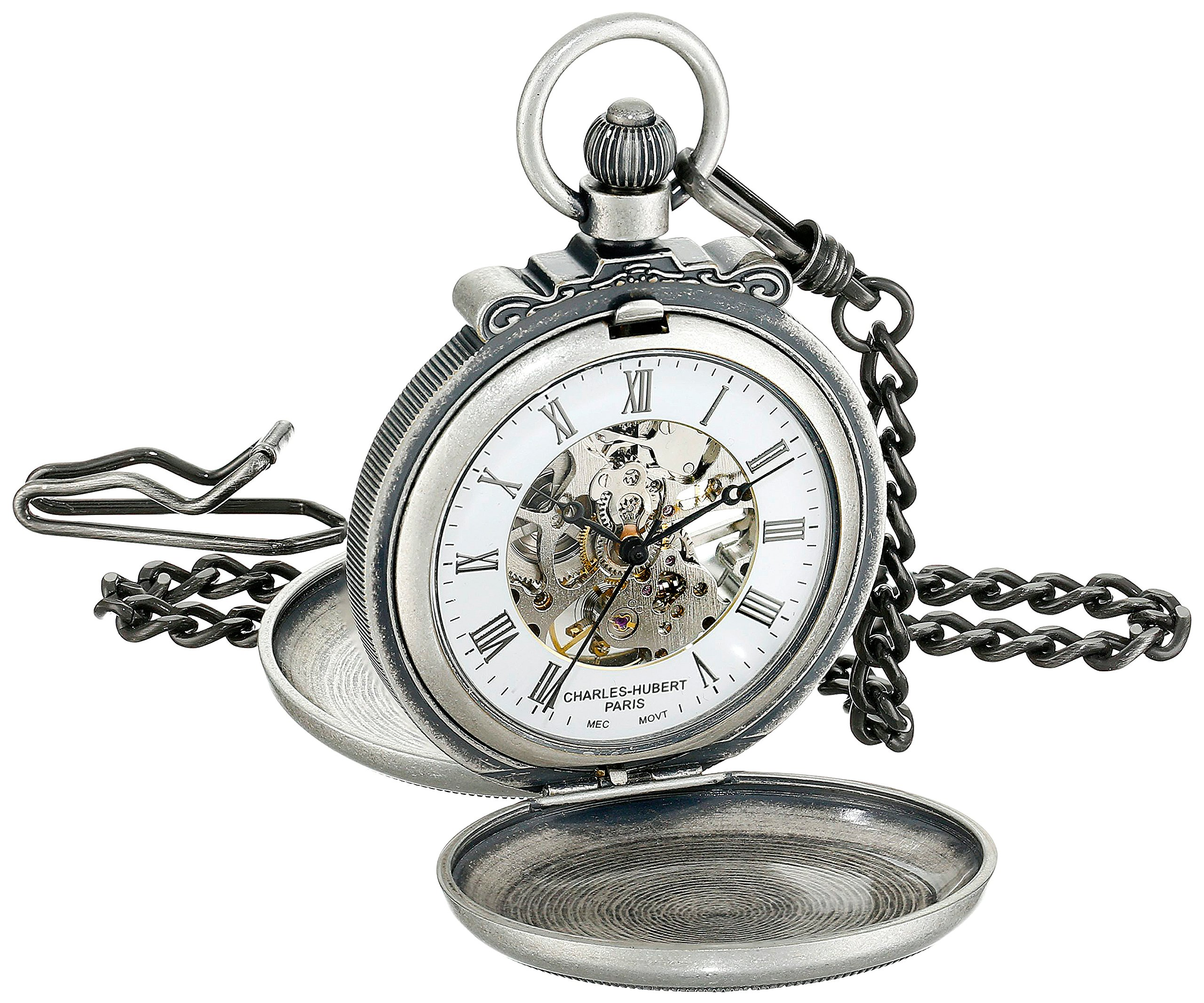 Charles-Hubert, Paris 3868-S Classic Collection Antiqued Finish Double Hunter Case Mechanical Pocket Watch by Charles-Hubert, Paris