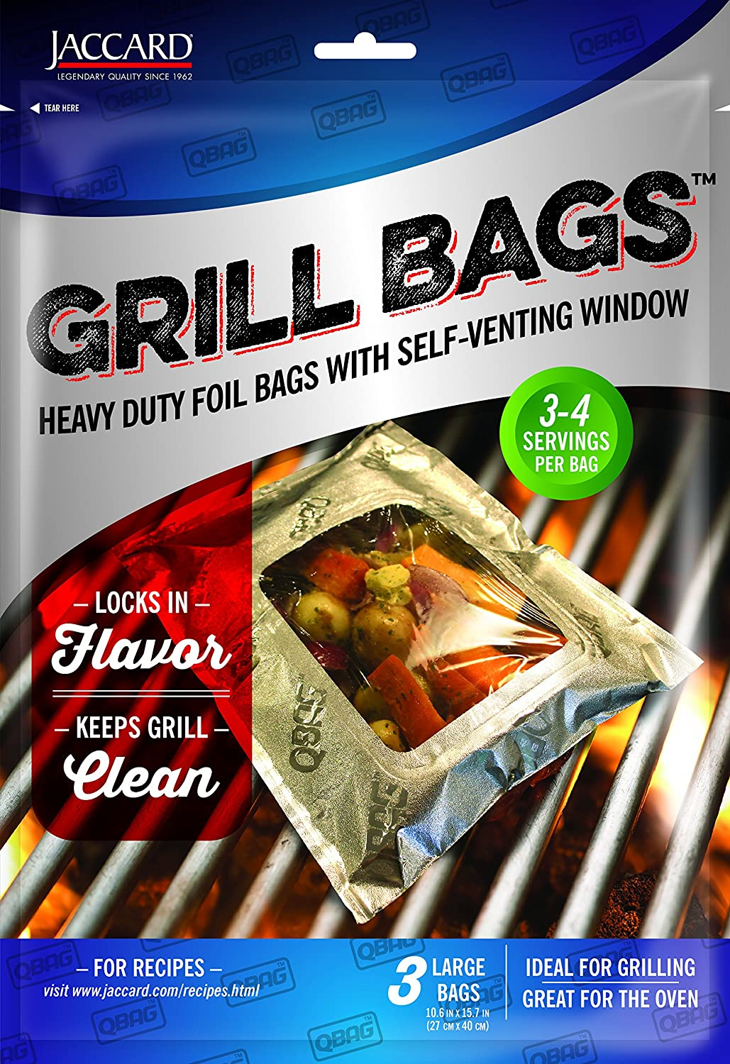 Jaccard 201506 Qbag Heavy Duty Aluminum Grill & Oven Bag, Large