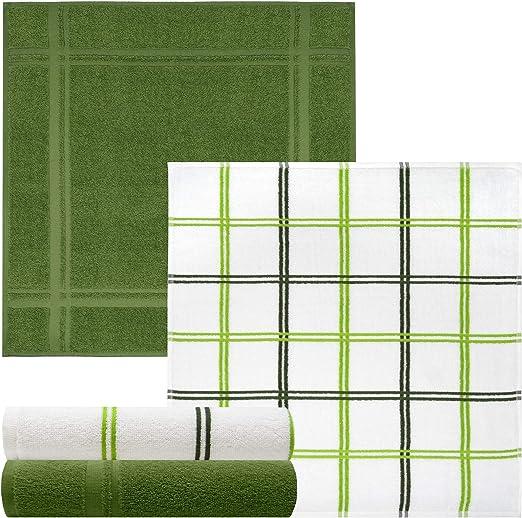 Lashuma - Juego de 4 toallas de rizo suaves de 50 x 50 cm, 2 paños ...