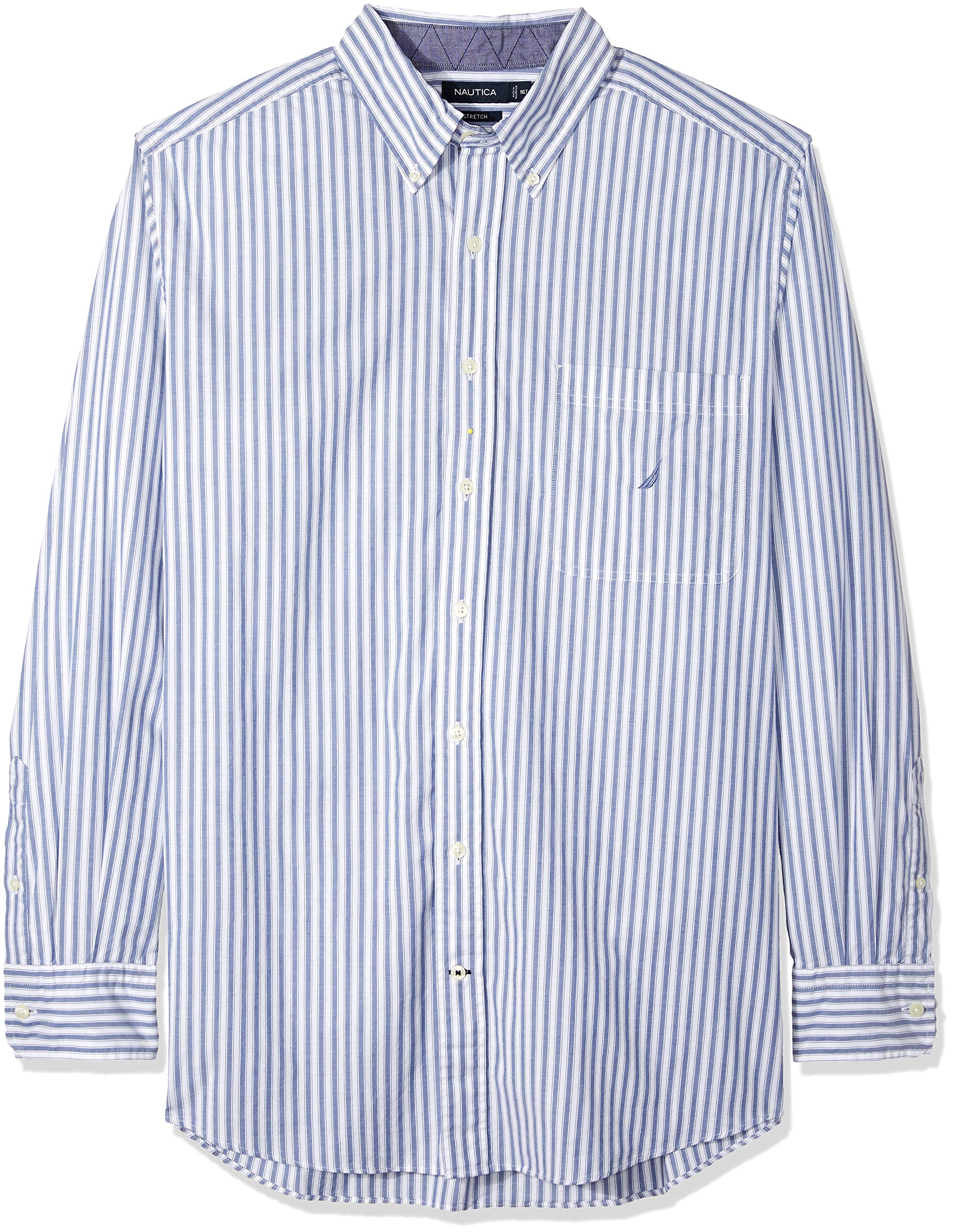 Nautica Men's Big and Tall Classic Fit Long Sleeve Vertical Stripe Button Down Shirt, Ocean Lapis, 2XLT