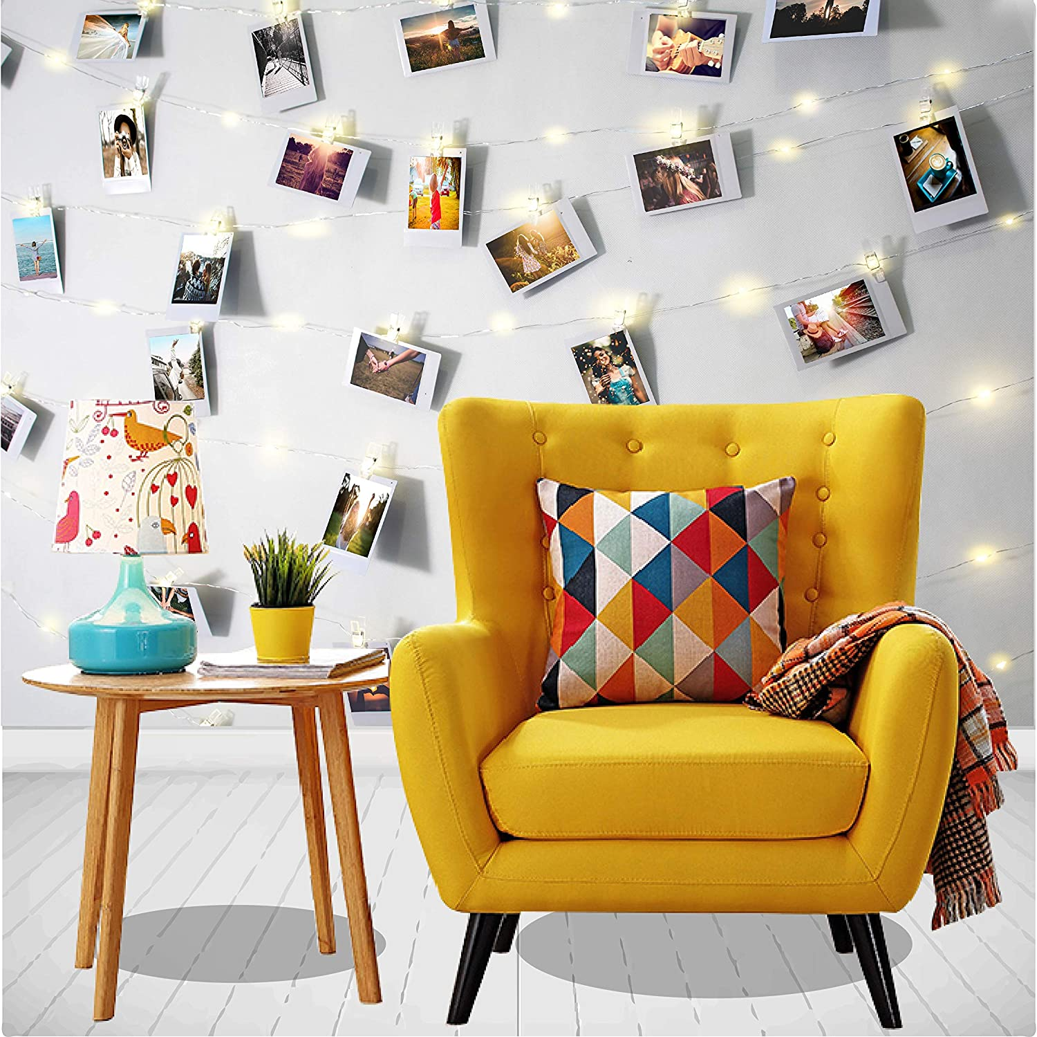 Photo Clip String Lights 17ft - 50 LED String Fairy Lights with 50 Clear Clothespin Clips for Picture Hanging, Dorm Room Decoration. Indoor Warm Fairy Lights with Clips, Battery Operated.