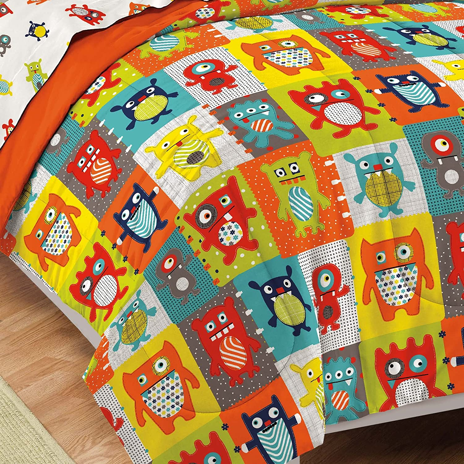 Amazon.com: Dream Factory Silly Monsters Ultra Soft Microfiber Comforter Set,  Multi Colored, Twin: Home U0026 Kitchen
