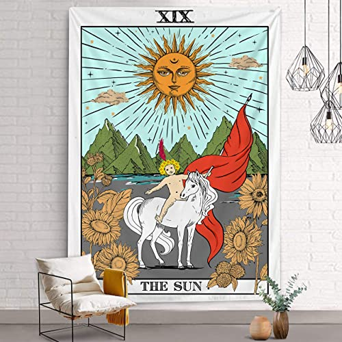 Bonsai Tree Tarot Tapestry, Tarot Card The Sun Mens Tapestry Wall Hanging Mysterious, Medieval Europe Diviration Queen Wall Tapestries for Room College Dorm Home Decorations, 68.9 x92