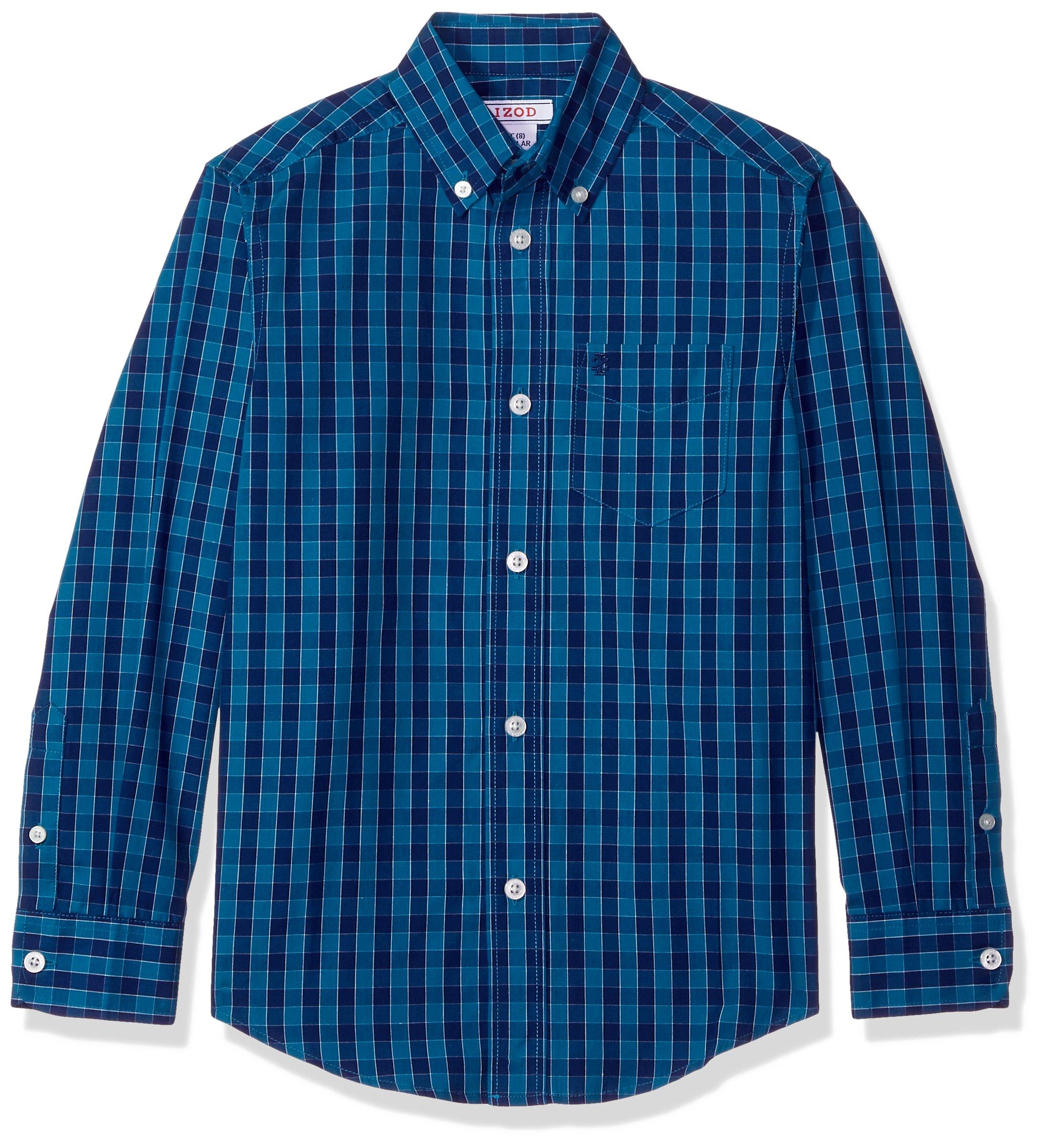 IZOD Big Boys' Long Sleeve Plaid Button-Down Shirt, Med Blue, M