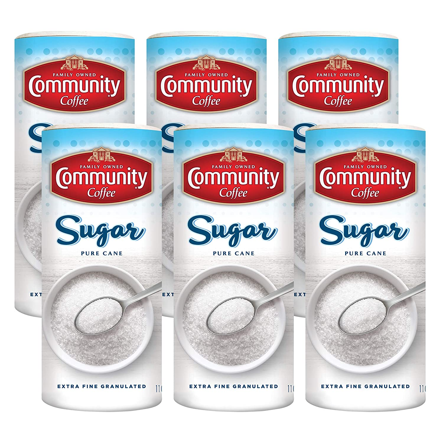 Community Coffee Extra Fine Granulated Sugar, 16 Ounces (Pack of 6)