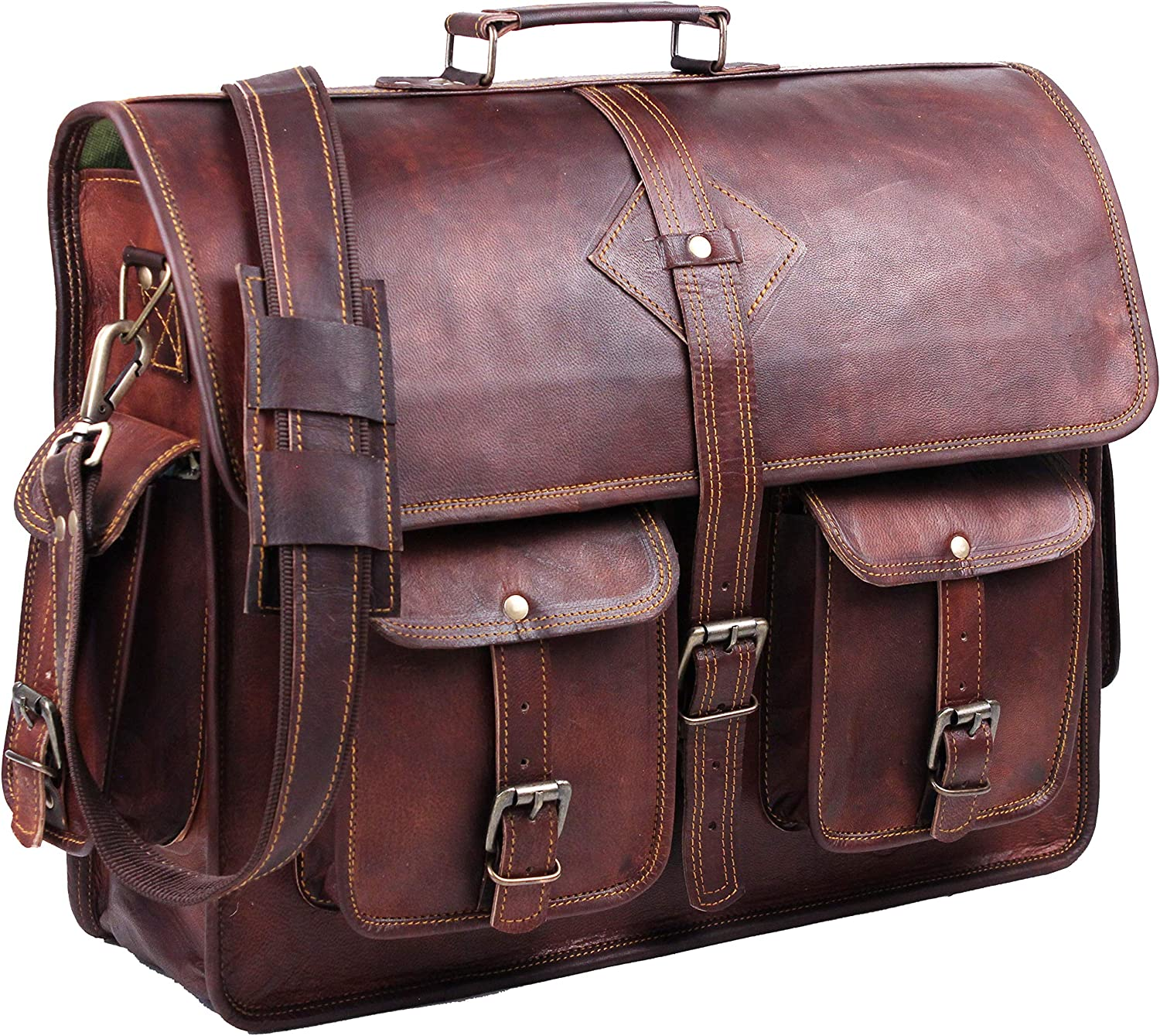 Vintage Leather Laptop Bags for Men Full Grain Large Leather Messenger bag for men 18 inches with rustic look Best leather briefcase by Hulsh