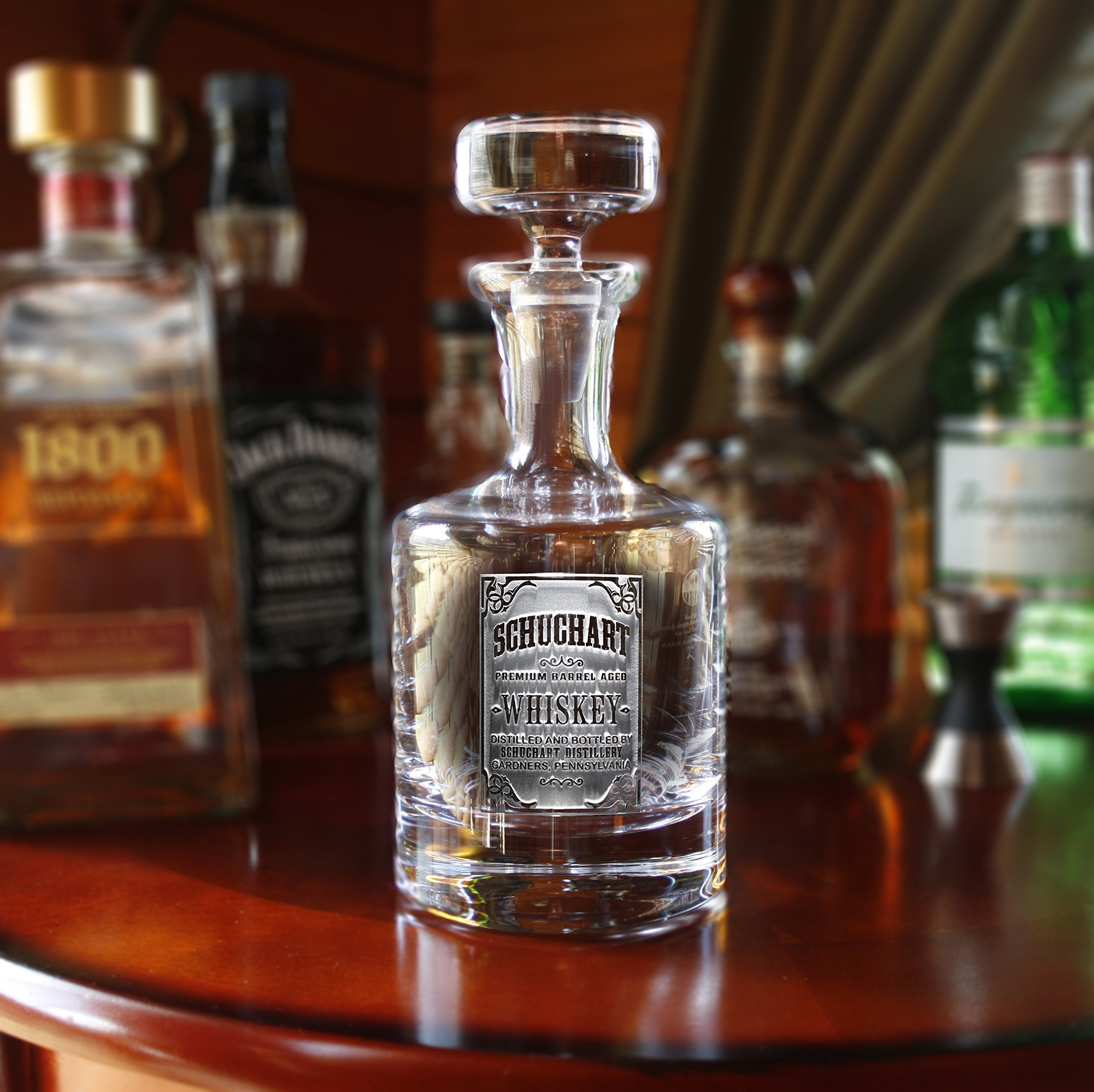Engraved Decanter for Whiskey with Whiskey Label