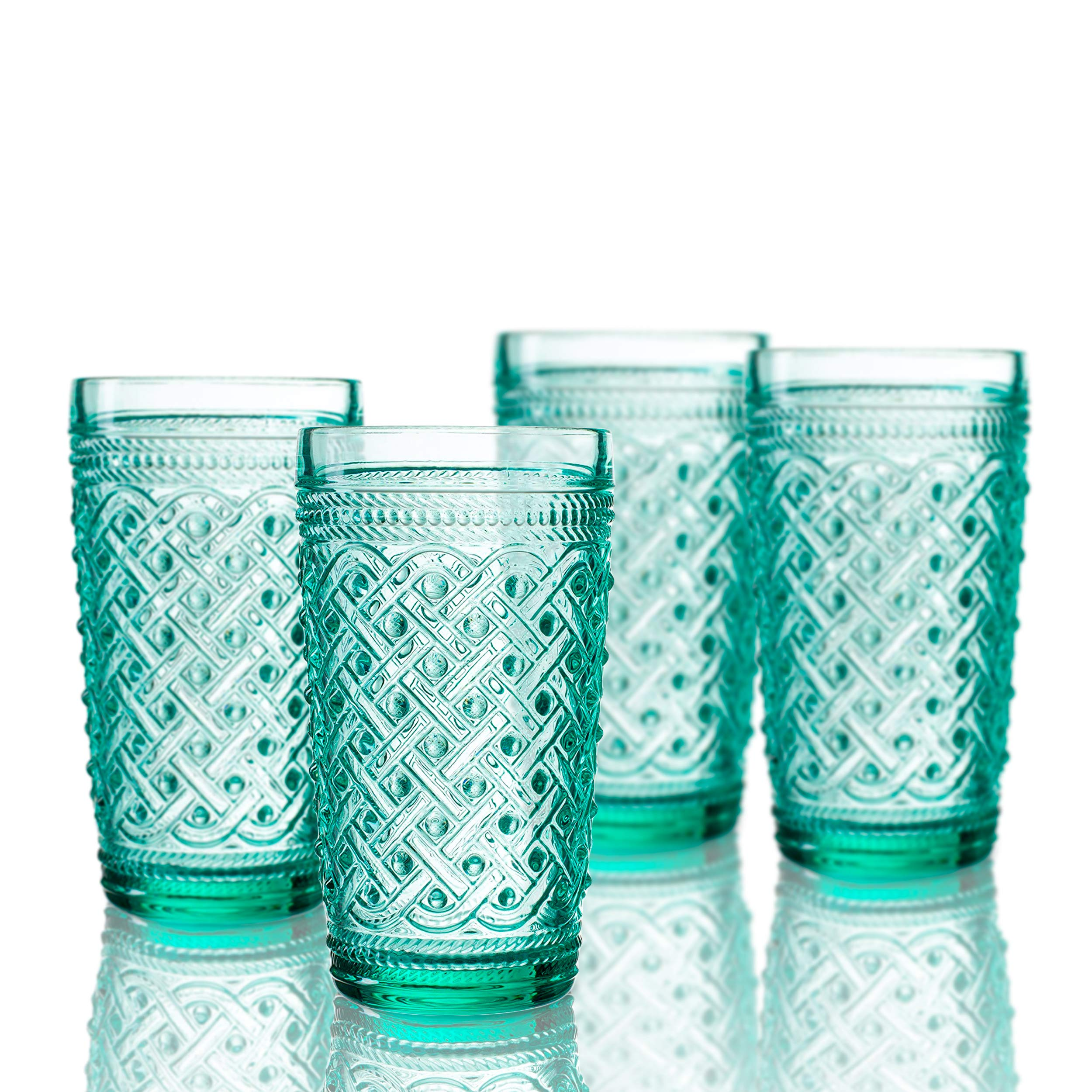Elle Decor 229807-4HBGR Bistro Ikat Set of 4 Highballs, Green-Glass Elegant Barware and Drinkware, Dishwasher Safe, 13 oz,