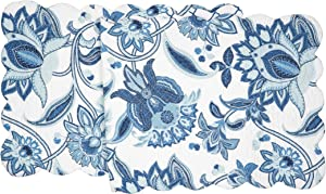 C&F Home Julianna Cotton Quilted Reversible Table Cotton Machine Washable Runner 14x51 Table Runner Blue
