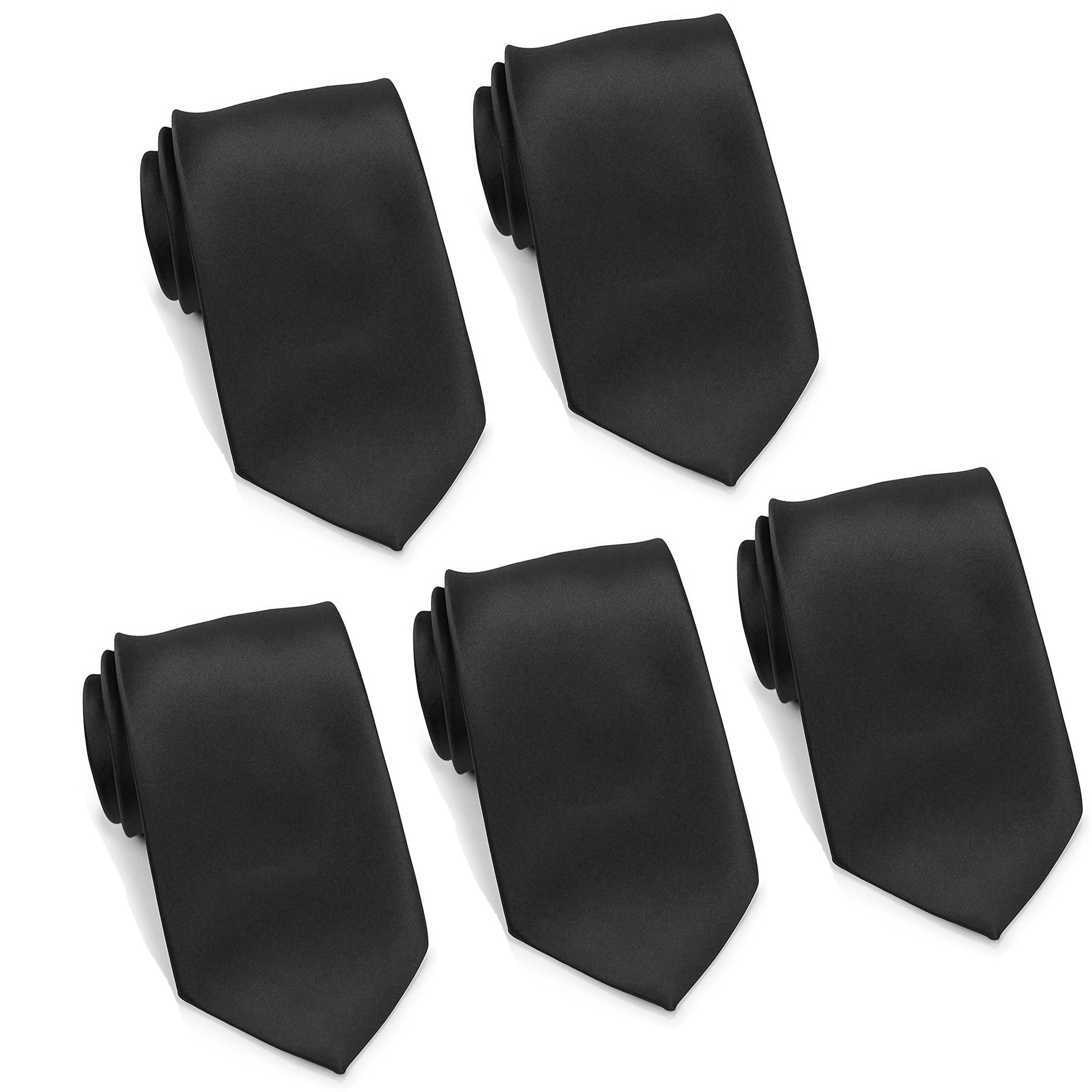 Mens Formal Tie Wholesale Lot of 5 Mens Solid Color Wedding Ties 3.5'' Satin Finish (Black)