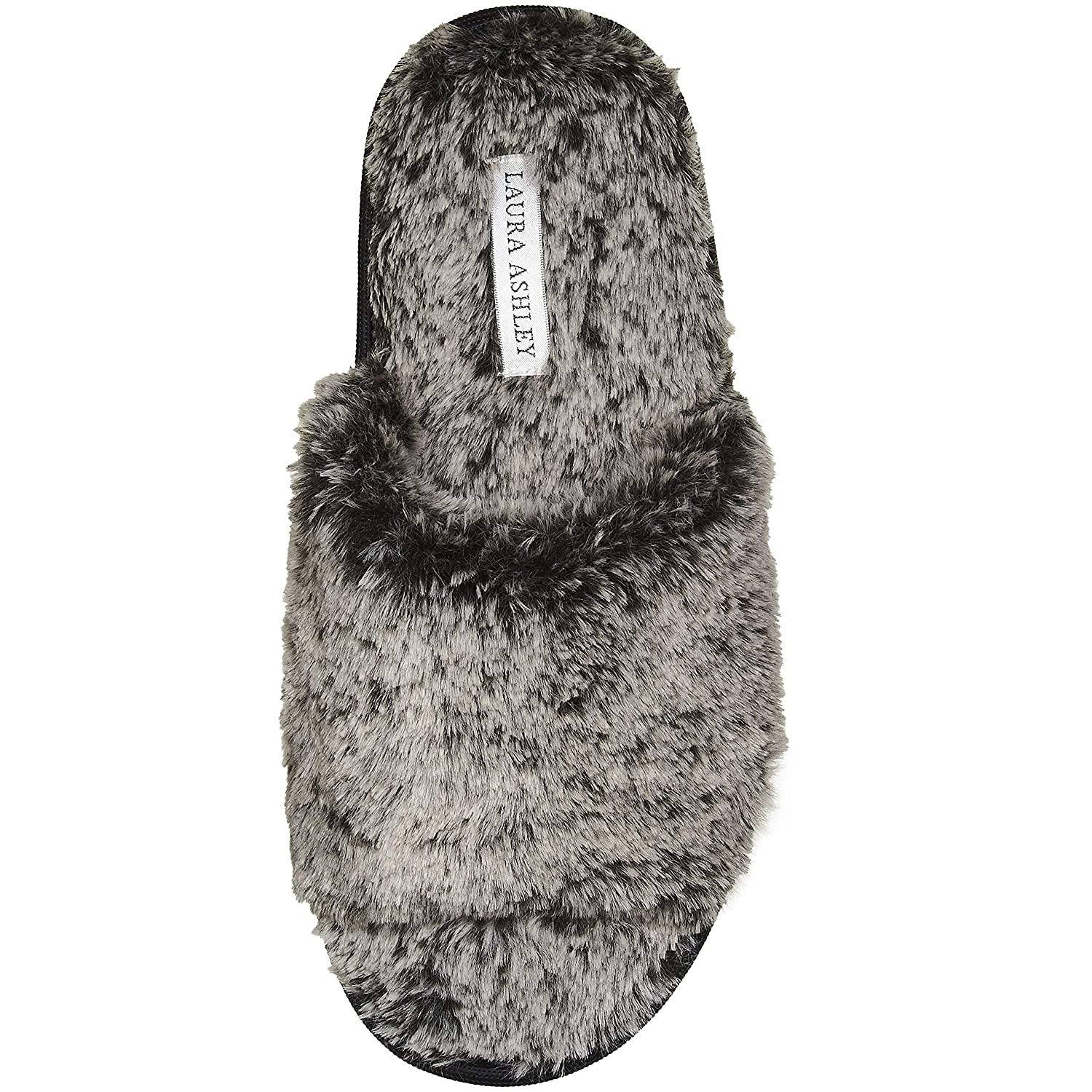 See More Colors and Sizes Laura Ashley Ladies Faux Fur Plush Open Toe Scuff Slippers
