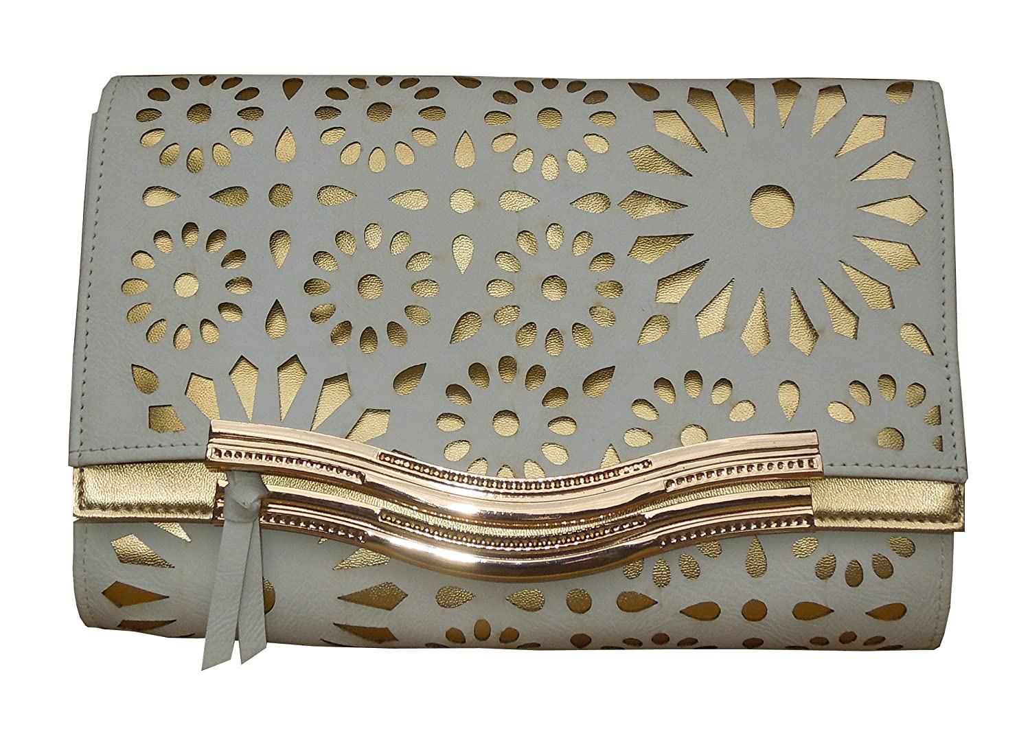 Spice Art White Laser Engraved Leatherite Clutch