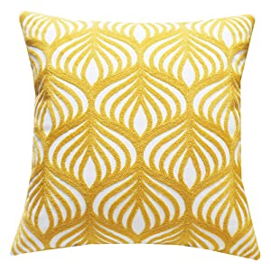 SLOW COW Cotton Embroidery Decorative Throw Pillow Cover Case for Couch Sofa Home Decor Modern Geometric Accent Pillow Cushion Cover 18 x 18 Inches Yellow, 1PC