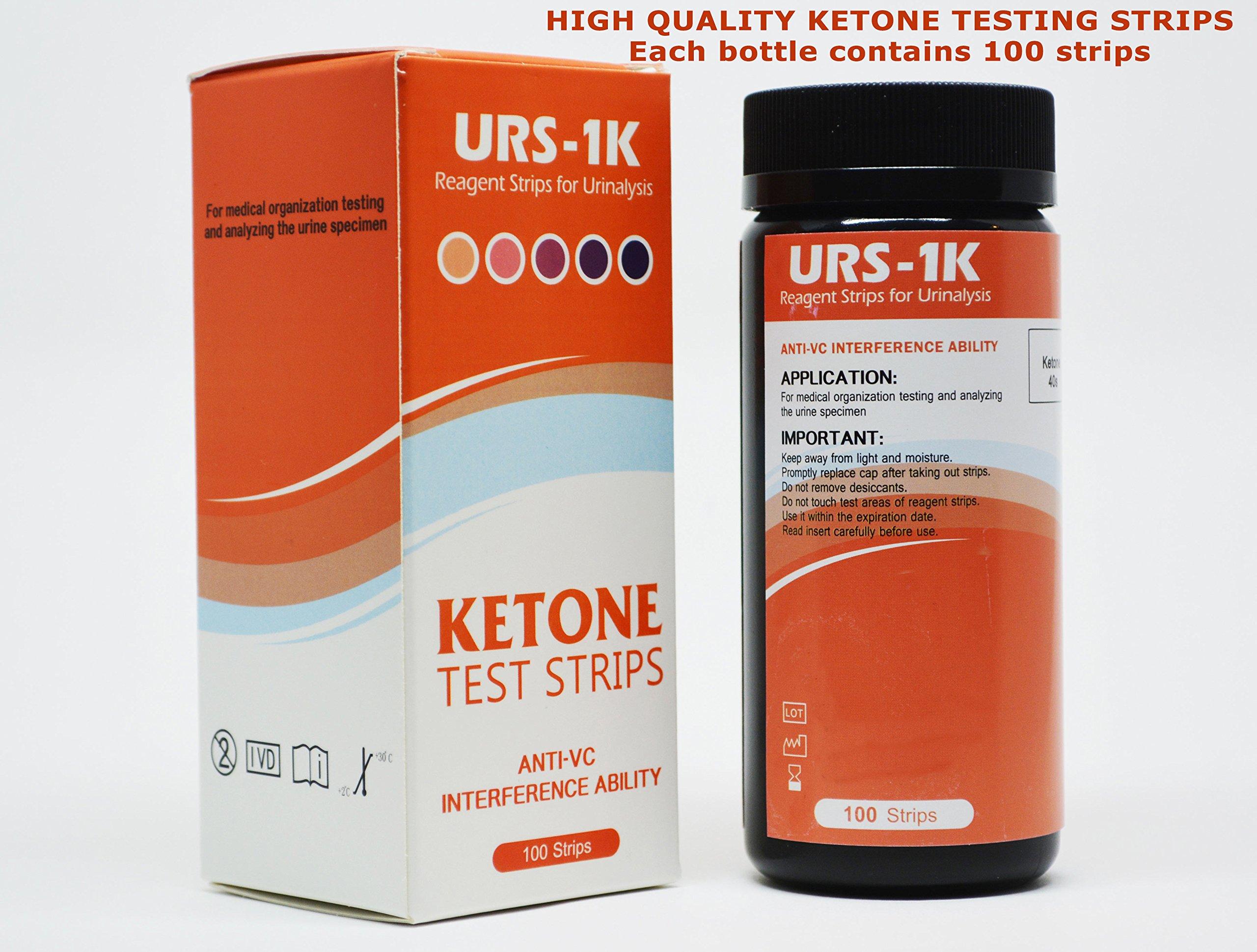 300 Pack (3 Bottles) of Ketone Test Strips - Professional Grade - Ketogenic, Paleo, Atkins Diets by URS-KETONE