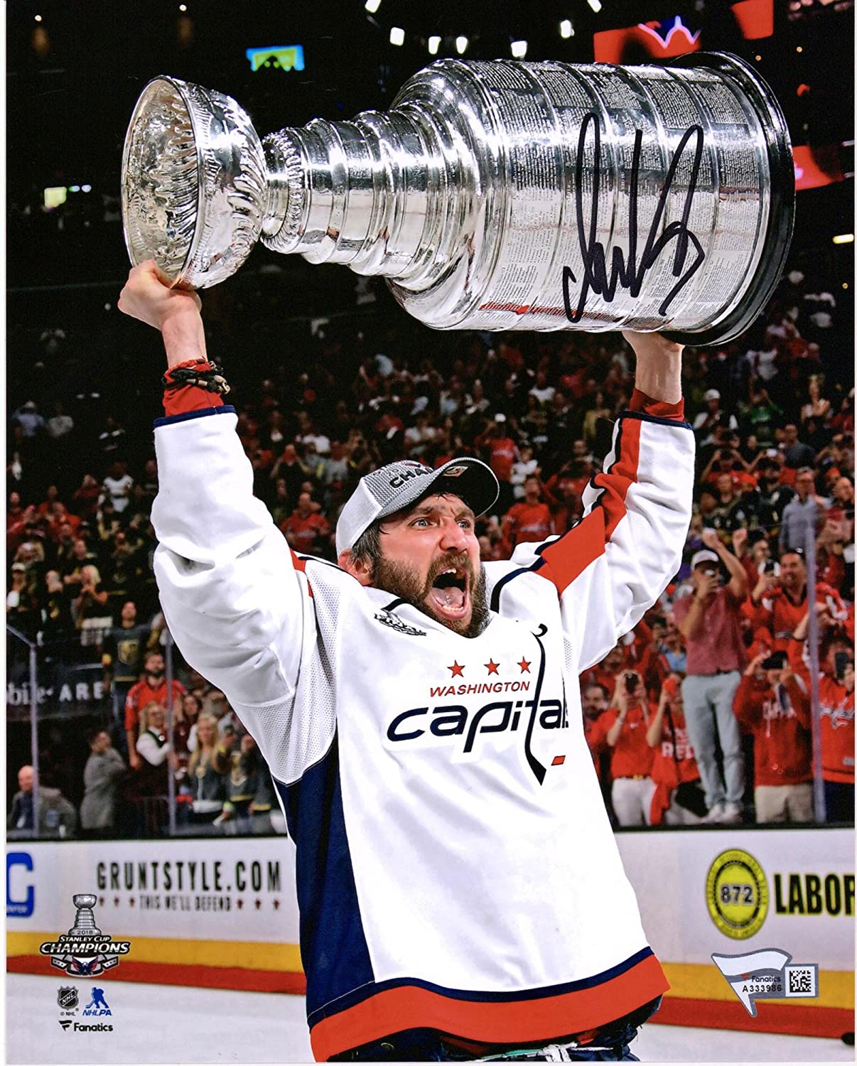 aa6127671 Alex Ovechkin Washington Capitals 2018 Stanley Cup Champions Autographed 8  x 10 Raising Cup Photograph ...