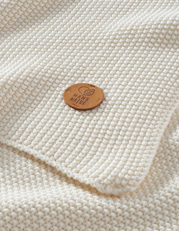 kbA GOTS zertifiziert Bio Babydecke Strick-Qualit/ät 100/% Bio-Baumwolle Elfenbein 80 x 95 cm
