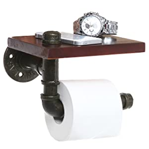 MyGift Rustic Style Iron Pipe & Brown Wood Design Wall Mounted Bathroom Shelf/Toilet Paper Roll Holder
