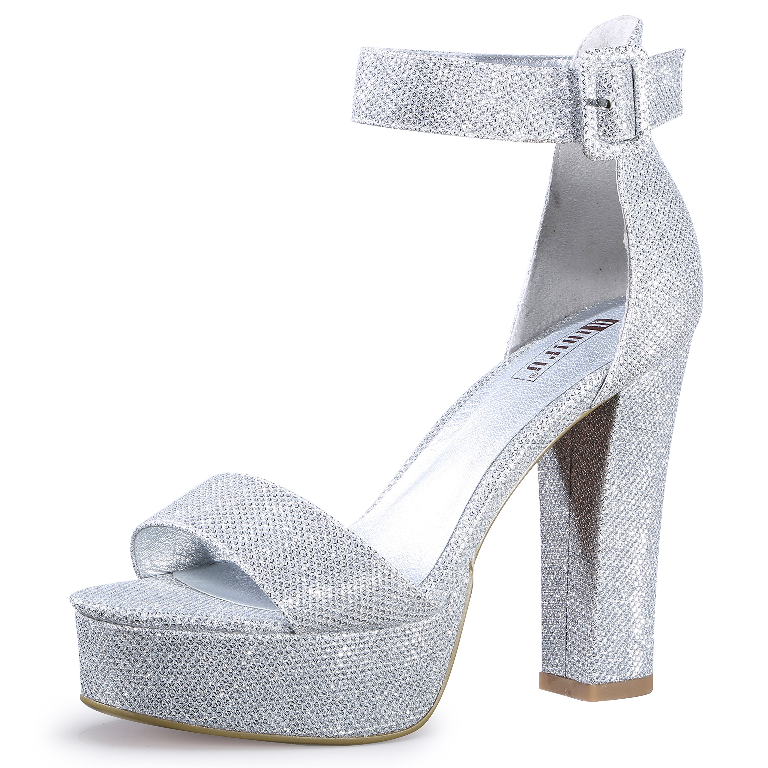 IDIFU Women's IN5 Sabrina Ankle Strap Platform High Chunky Heels Party Sandal (Silver Glitter, 6.5 B(M) US)