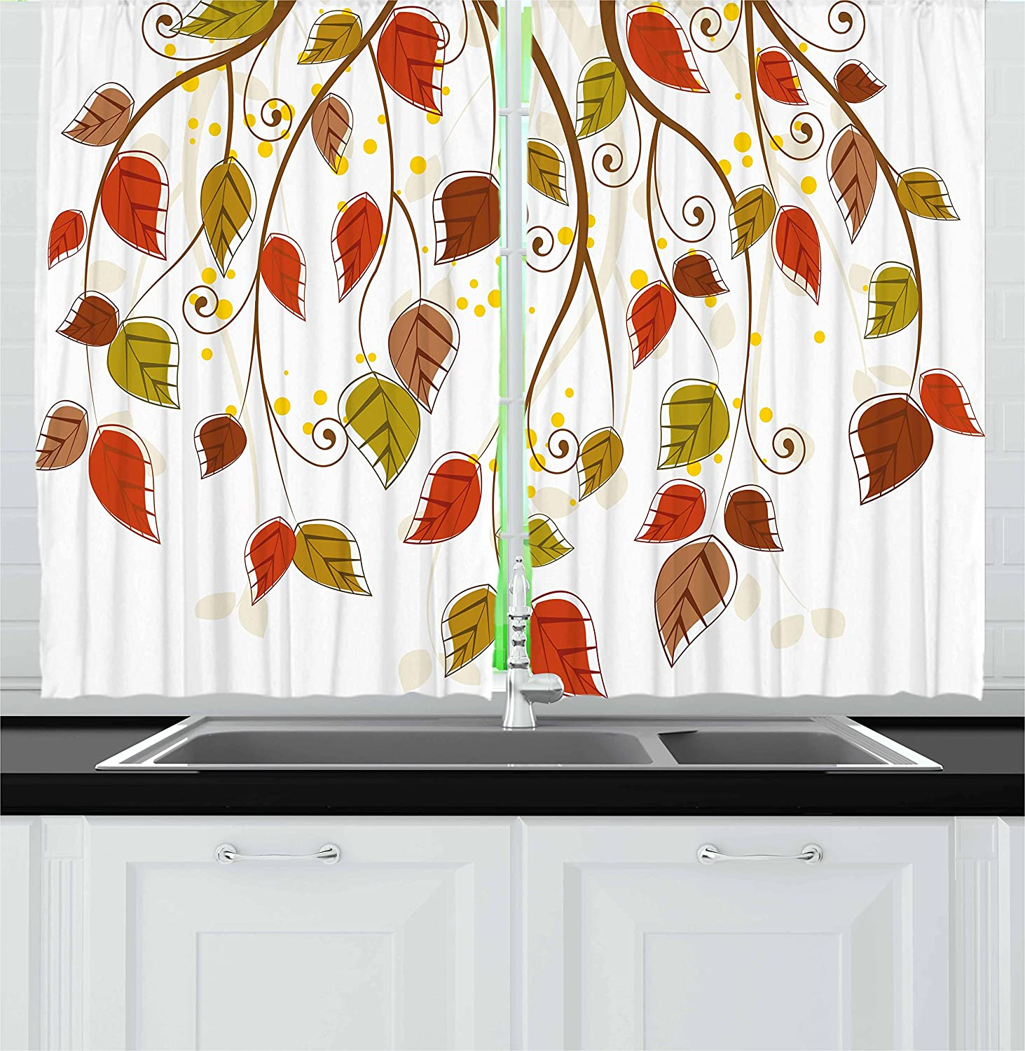 Amazon Com Ambesonne Autumn Kitchen Curtains Branches With Fall Leaves Seasonal Colors Nature Environment Foliage Window Drapes 2 Panel Set For Kitchen Cafe Decor 55 X 39 Burnt Sienna Brown Green Home