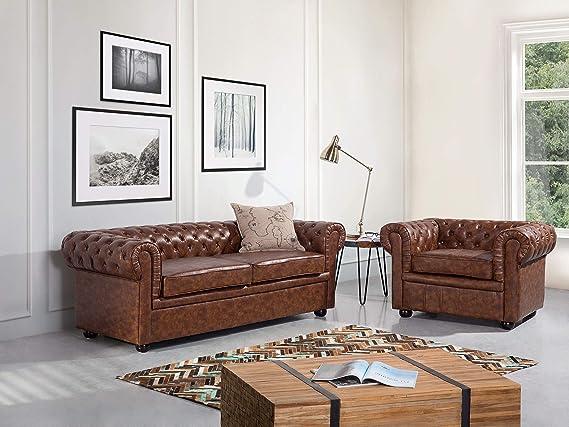 Piel - Fauteuil - Sillón en marrón Old Style Chesterfield ...