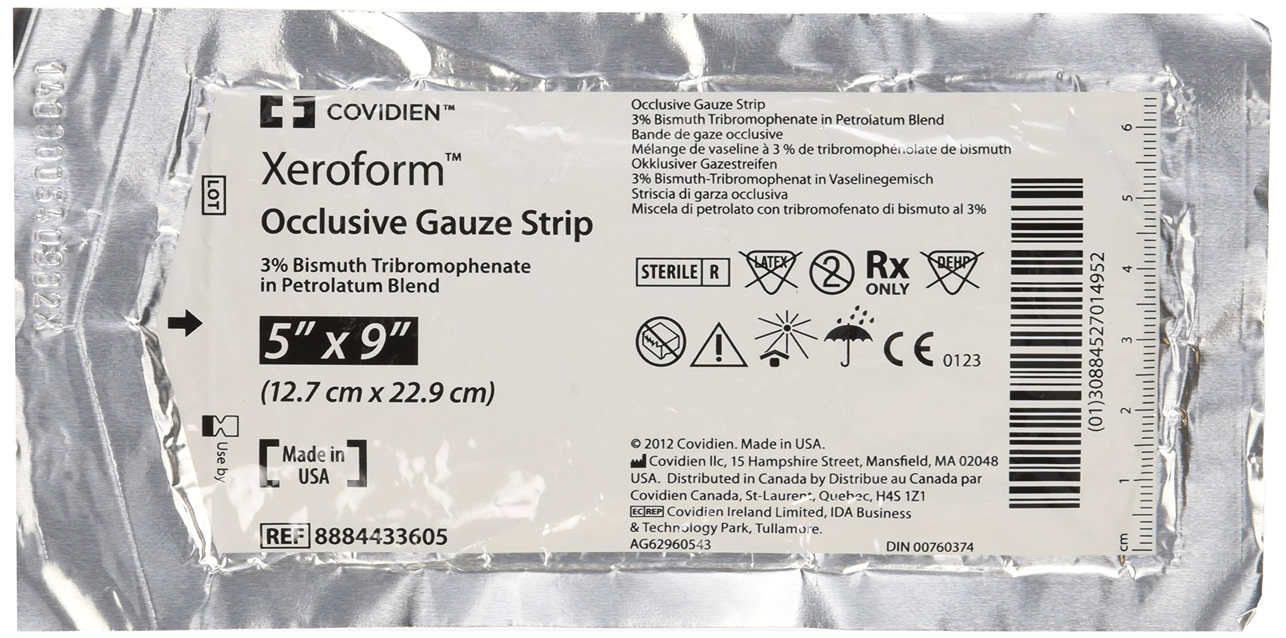 DSS Xeroform Occlusive Petrolatum Gauze Strip, 5'' X 9'', Box of 50