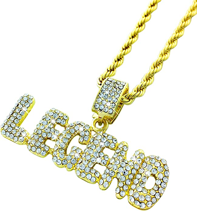 Exo Jewel Gold Diamond Savage Bubble Word Pendant with 24 Rope Chain