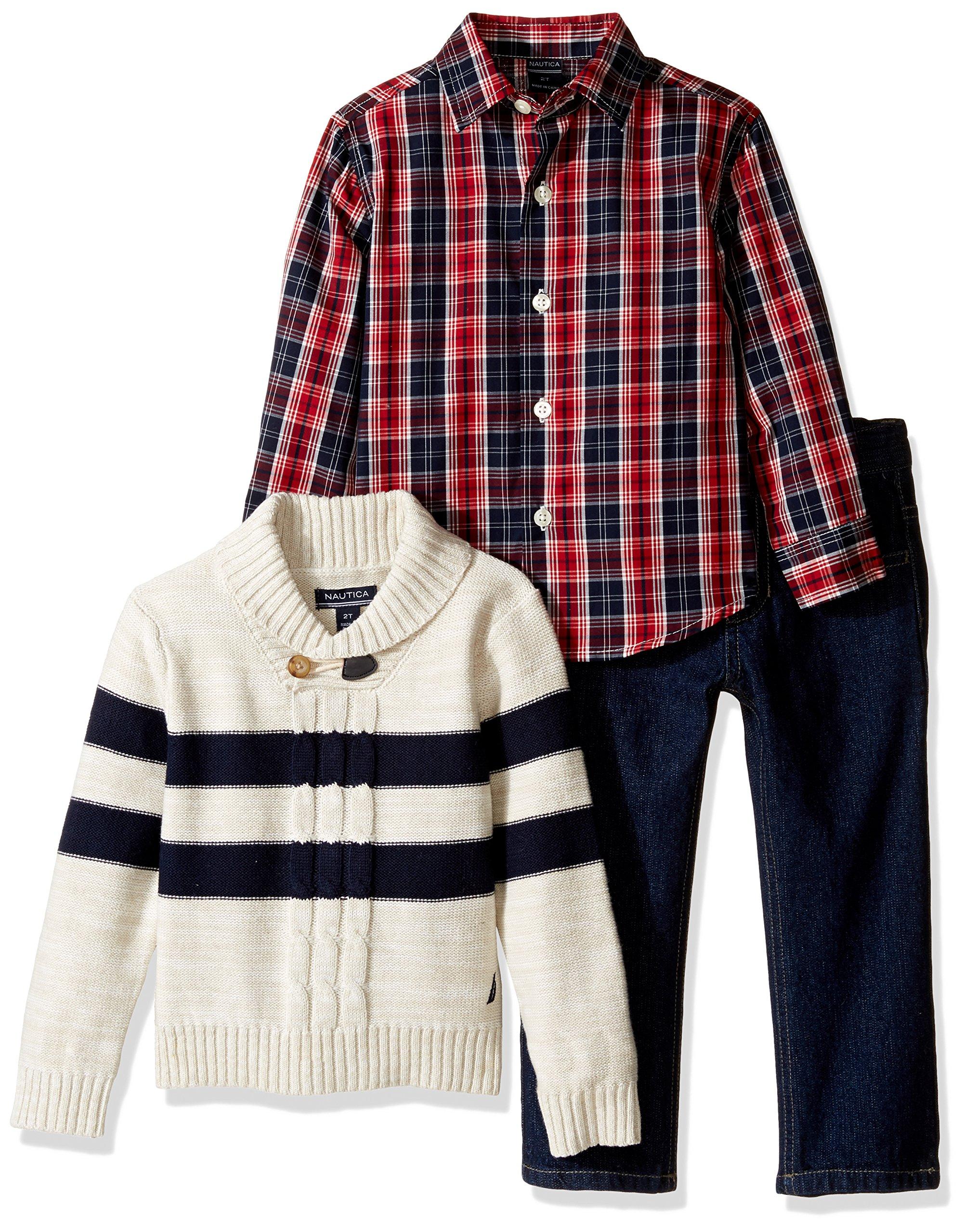 Quarter Zip Sweater and Denim Jean Nautica Three Piece Set with Woven Shirt