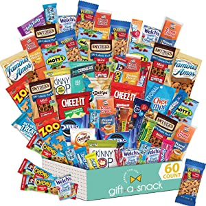 Variety Snack Care Package (60 Count) Gift Box for Adults - Cookies, Chips, Candies, Bars, Crackers - Birthday Candy Basket for Dad, Men, Women, Boys, Girls, Kids, College Student - Prime Delivery