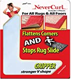 """Grips the Rug with NeverCurl Includes 4""""V"""" Shape Corners - Patent Pending. Instantly Flattens Rug Corners AND Stops Rug Slipping. Gripper uses Renewable Sticky Gel. By NeverCurl"""